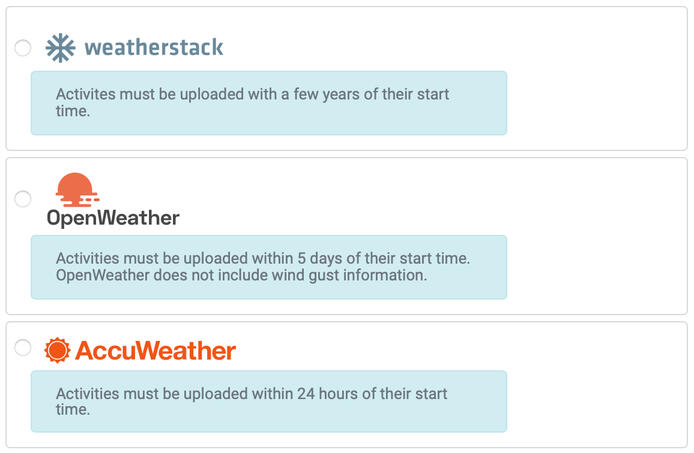 Weather providers